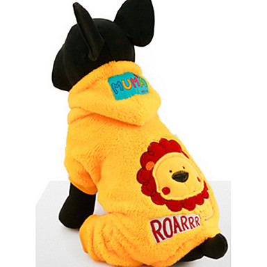 Dog Hoodie Jumpsuit Dog Clothes Casual/Daily Cartoon Yellow Costume For Pets