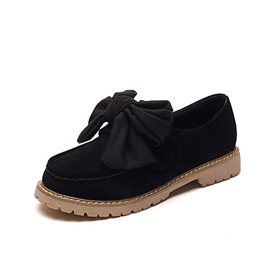 Women's Shoes Satin Spring Fall Comfort Loafers & Slip-Ons Walking Shoes Chunky Heel Round Toe Bowknot for Casual Black Red