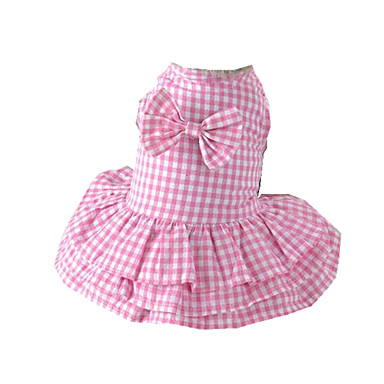 Dog Dress Dog Clothes Casual/Daily Plaid/Check Blue Pink Costume For Pets
