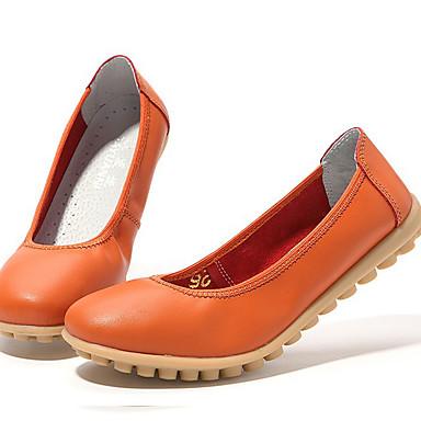 Mulheres Sapatos Pele Napa Verão / Outono Solados com Luzes Rasos Laranja / Rosa claro / Khaki