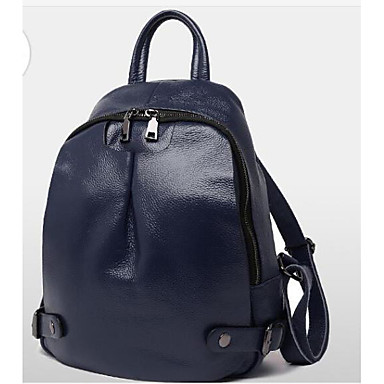 Women Bags All Seasons Cowhide Backpack with for Casual Blue Red Blushing Pink