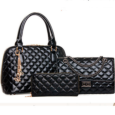 Women's Bags PU Bag Set 3 Pcs Purse Set Rivet Zipper for Event/Party Formal Office & Career All Seasons Blue Gold Black Beige