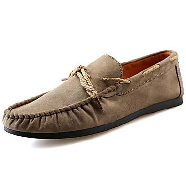 Homens sapatos Camurça Primavera Outono Conforto Sapatos de Barco Caminhada para Casual Preto Azul Escuro Khaki