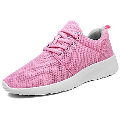 Mulheres Sapatos Tule Primavera Outono Conforto Tênis Caminhada Sem Salto Ponta Redonda Cadarço para Casual Branco Preto Rosa claro Verde