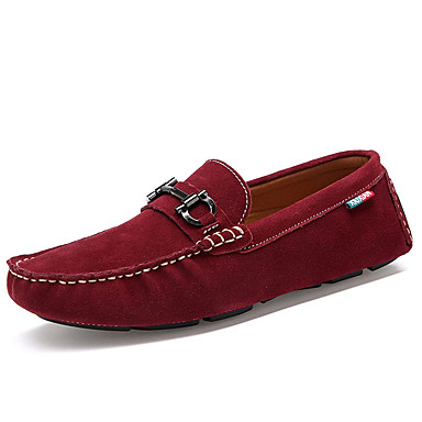 Men's Light Soles Fleece / PU(Polyurethane) Spring / Summer Loafers & Slip-Ons Gray / Blue / Burgundy