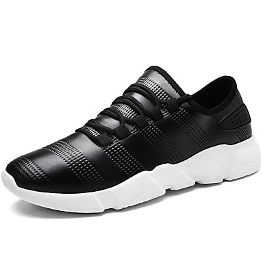Men's Shoes Tulle Spring Fall Comfort Sneakers Walking Shoes Lace-up for Casual Outdoor Party & Evening White Black Black / White