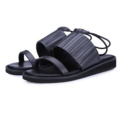 Naiset Kengät Nahka Kesä Comfort Sandaalit Tasapohja Käyttötarkoitus Kausaliteetti Musta