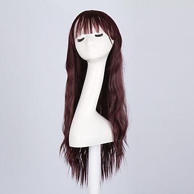 Cabelo Sintético perucas Ondulado Sem Touca Peruca Natural Longo Vermelho