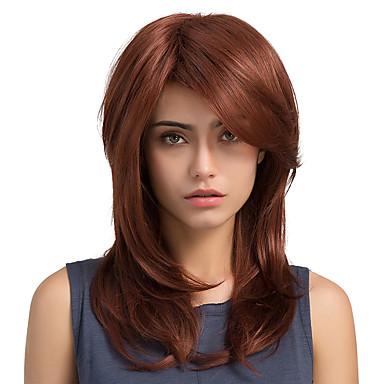 Perucas sintéticas Liso Densidade Sem Touca Mulheres Marrom Vermelho Peruca Natural Longo Cabelo Sintético