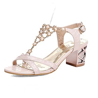 Mulheres Sapatos Sintético Couro Ecológico Verão Outono Conforto Inovador Sandálias Caminhada Salto Robusto Peep Toe Pedrarias para