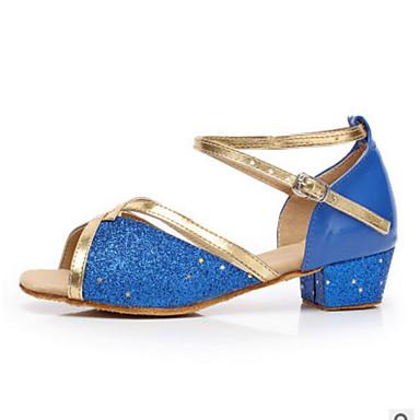 Women's Kids' Dance Shoes PU Heel Practice Blue