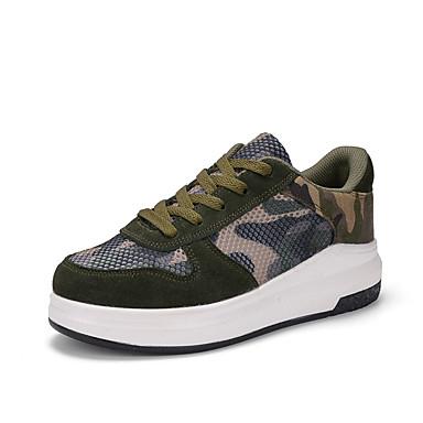 Mulheres Sapatos Tule Primavera Outono Conforto Tênis Sem Salto Ponta Redonda Cadarço para Ao ar livre Verde
