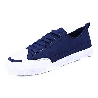 Homens sapatos Couro Ecológico Primavera Outono Conforto Tênis para Ao ar livre Preto Vermelho Azul