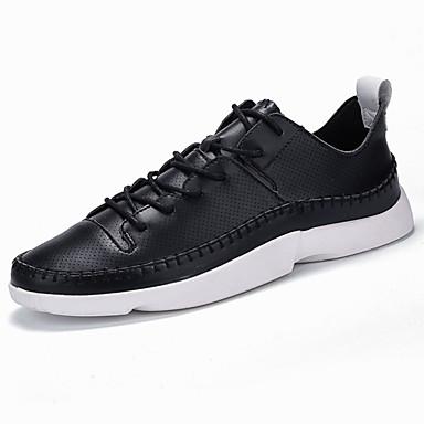 Homens sapatos Couro Ecológico Primavera Outono Solados com Luzes Conforto Tênis Cadarço para Casual Ao ar livre Branco Preto