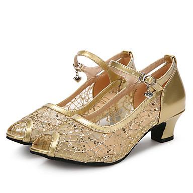 Damen Latin Glitzer Netz Lackleder Sandalen Absätze Sneaker Innen Glitter Schnalle Kubanischer Absatz Gold Schwarz Silber 2