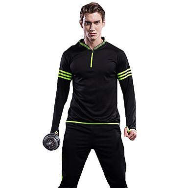 Herre Dame Joggedress Klessett Fitness, Løping & Yoga Fort Tørring til Løper Trening & Fitness Svart/Grønn