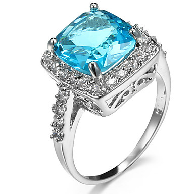 Women's Ring Settings Ring Band Ring Cubic Zirconia Rhinestone Purple Light Blue Zircon Copper Rhinestone Square Geometric Personalized
