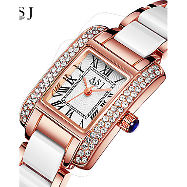 ASJ Women's Wrist Watch Japanese Quartz Ceramic Silver / Rose Gold 30 m Water Resistant / Waterproof Creative Analog Ladies Sparkle - Silver Rose Gold One ...