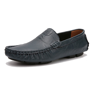 Homens sapatos Couro Ecológico Primavera Outono Conforto Mocassins e Slip-Ons para Ao ar livre Preto Azul Castanho Escuro