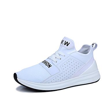 Homens sapatos Couro Ecológico Tecido Primavera Outono Conforto Tênis Basquete Cadarço para Atlético Casual Ao ar livre Branco Preto