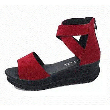 Women's Sandals Comfort Summer Nubuck leather Casual Black Burgundy 2in-2 3/4in