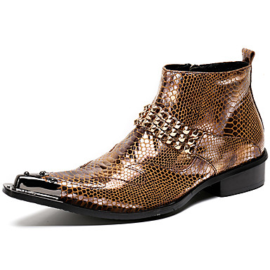 Unisex Formal Shoes Nappa Leather Fall / Winter Motorcycle Boots Boots Booties / Ankle Boots Gold / Black / Party & Evening