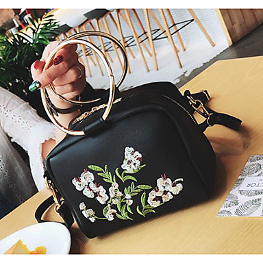 Women Shoulder Bag PU All Seasons Casual Outdoor Round Clasp Lock Black Red Brown