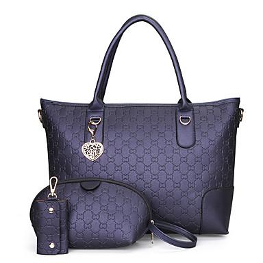 Women's Bags PU Bag Set 3 Pcs Purse Set Black / Blushing Pink / Gray