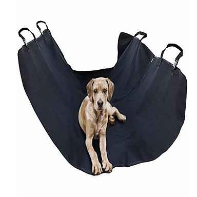 Cat Dog Car Seat Cover Pet Carrier Wateproof Adjustable/Retractable Portable Foldable Solid Plaid/Check Grid Black