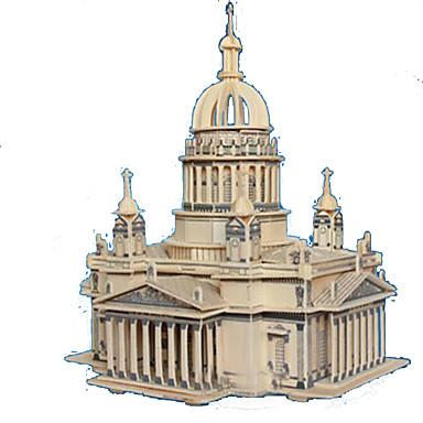 3D Puzzles Jigsaw Puzzle Wood Model Model Building Kit Rectangular Castle Famous buildings Architecture 3D Wood Natural Wood Adults'