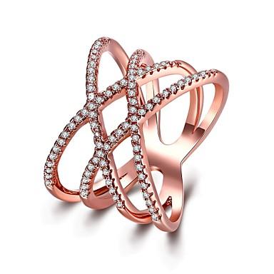 Mulheres Anel Zircônia cúbica Prata Ouro Rose Rosa ouro Aço Inoxidável Zircão Aço Inoxidável /Ferro Rosa Folheado a Ouro Redonda Forma
