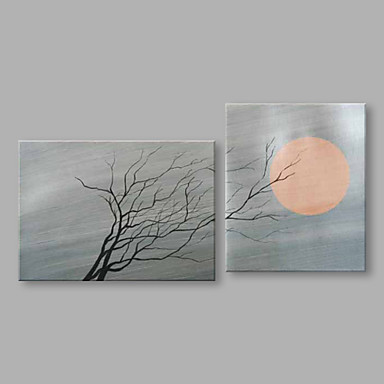Pintados à mão Abstrato Panorâmico vertical, Abstracto Modern Tela de pintura Pintura a Óleo Decoração para casa 2 Painéis