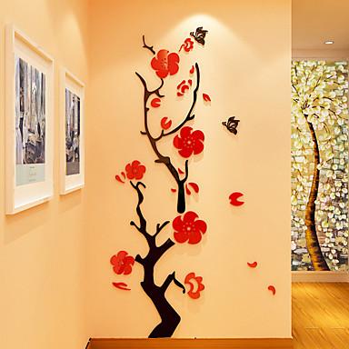 Blomstret/Botanisk Romantik Veggklistremerker 3D Mur Klistremerker Krystal mur klistermærker Dekorative Mur Klistermærker 3D,Akryl