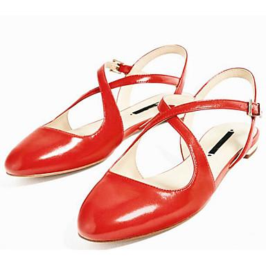 Naiset Sandaalit Comfort PU Kevät Kausaliteetti Comfort Musta Punainen Tasapohja