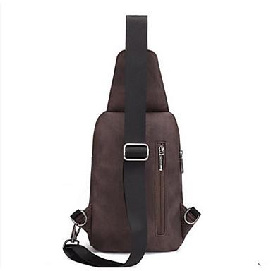Men Sling Shoulder Bags PU All Seasons Casual Outdoor Round Zipper Blue Black Coffee