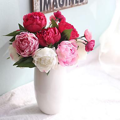 1 Gren Plastikk Peoner Planter Bordblomst Kunstige blomster