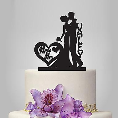 Tortadísz Klasszikus téma Romantika Esküvő Klasszikus pár Műanyag Esküvő Évforduló val vel 1 Poli táska