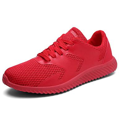 Homens sapatos Tule Verão Conforto Tênis Caminhada Cadarço para Casual Branco Preto Vermelho