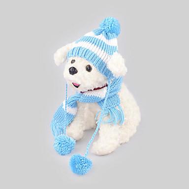 Hund Hodetørklær og hatter Hundeskjerf Hundeklær Fritid/hverdag Hold Varm Stripe Blå Rosa Kostume For kjæledyr