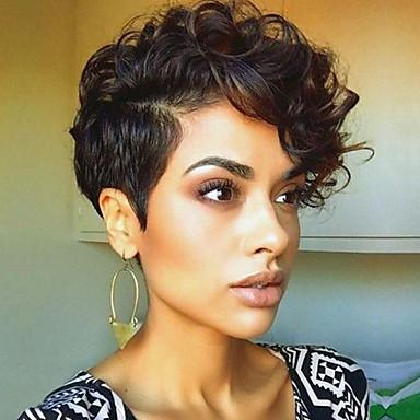 Synteettiset peruukit Laineita Tiheys Suojuksettomat Naisten Ruskea Luonnollinen peruukki Lyhyt Synteettiset hiukset