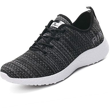 Men's Shoes Breathable Mesh PU Spring Fall Light Soles Comfort Athletic Shoes Running Shoes Lace-up for Athletic Casual Black Red Blue