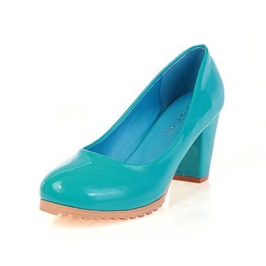 Mulheres Sapatos Couro Envernizado Primavera / Outono Conforto / Inovador Saltos Caminhada Salto Robusto Ponta Redonda Bege / Vermelho /