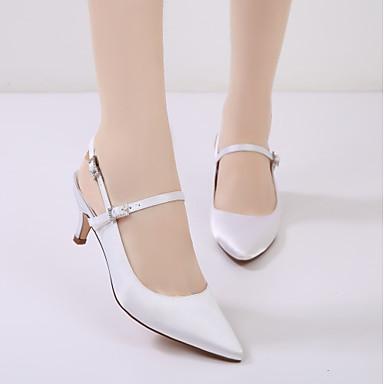 06173764 Heel Cône Cheville Talon Satin de Basique mariage Printemps Kitten Femme Chaussures de Eté Confort Escarpin Chaussures Bride fR6RTaqw