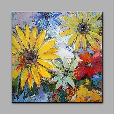 Hang festett olajfestmény Kézzel festett - Virágos / Botanikus Modern Vászon / Hengerelt vászon