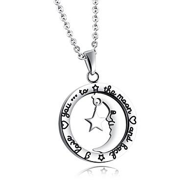Női Luxus Kocka cirkónia Nyaklánc medálok  -  Luxus Szerelem Nyilatkozat Circle Shape Ezüst Nyakláncok Kompatibilitás Parti Születésnap