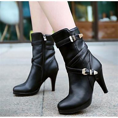 Damen Schuhe PU Herbst Winter Komfort Stiefel Für Normal Schwarz Mandelfarben
