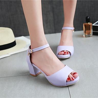 Damen Schuhe PU Sommer Komfort Sandalen Blockabsatz Für Normal Purpur Blau Rosa