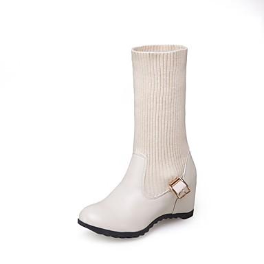 Damen Stiefel Walking Komfort Gladiator Schneestiefel Modische Stiefel Stiefeletten Slouch Stiefel Leuchtende Sohlen formale SchuheLeder
