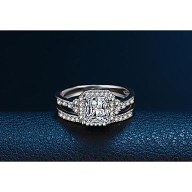 Damen Kubikzirkonia Platiert Bandring - Kreisförmig Elegant Modisch Silber Ring Für Hochzeit Verlobung Alltag