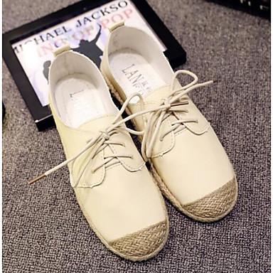 Damen Schuhe Echtes Leder PU Frühling Komfort Flache Schuhe Für Normal Weiß Schwarz Beige
